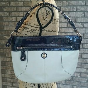 Coach leather white and navy handbag purse